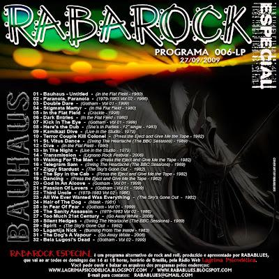 TRACK LIST RABAROCK 006-LP  -  Bauhaus