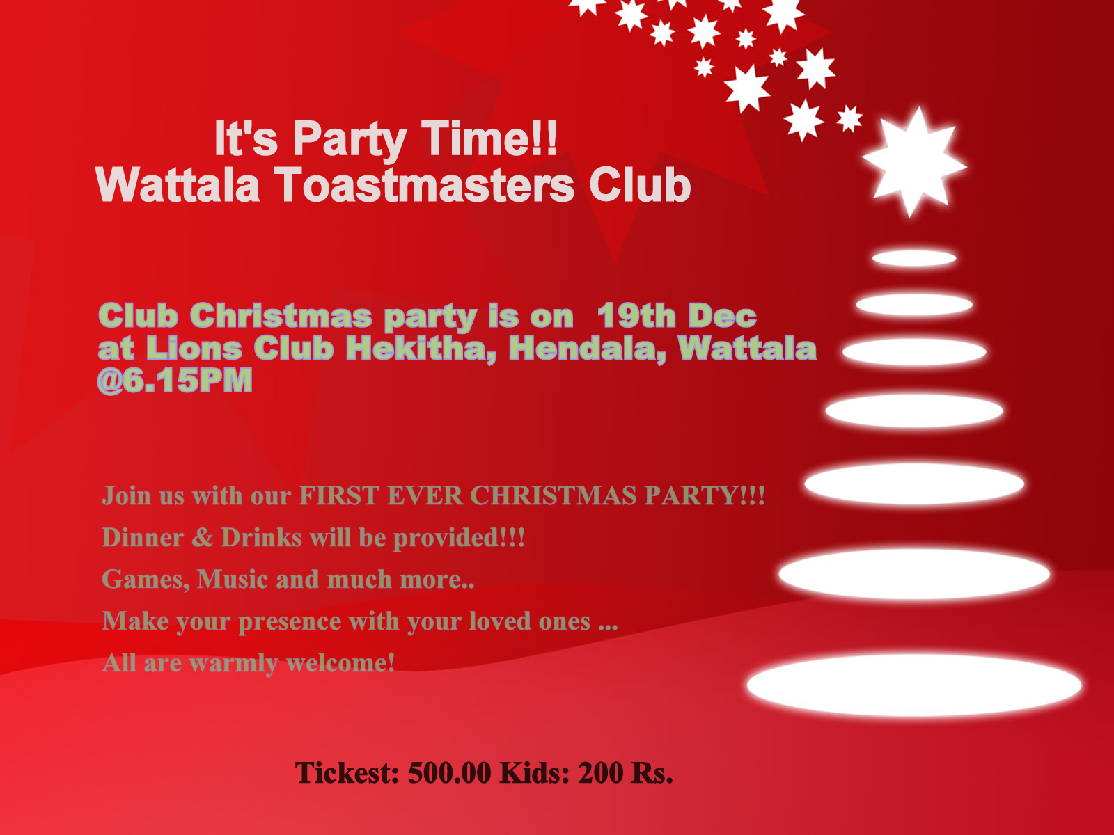 Invitation Design Ideas: Wattala Toastmasters Club: Christmas Party ...