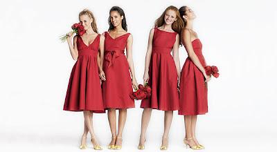 bridesmaids dresses, Red bridesmaids dresses