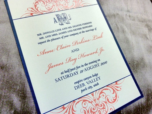 navy and coral wedding invitations | wedding design ideas,