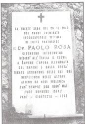 LAPIDE IN MEMORIA DI PAOLO ROSA