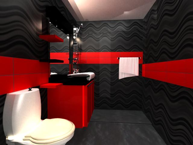 VIEW OF THE RED BATHROOM