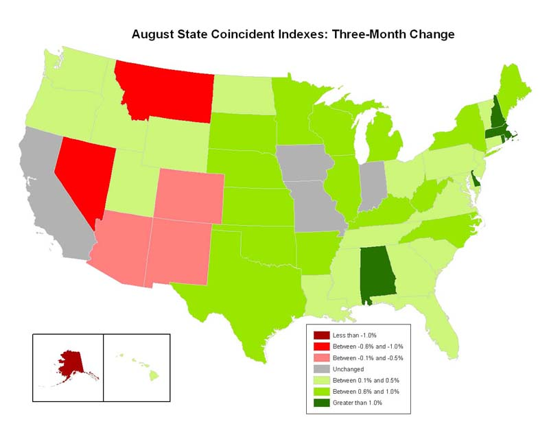Philly Fed Coincident Index Map August 2010
