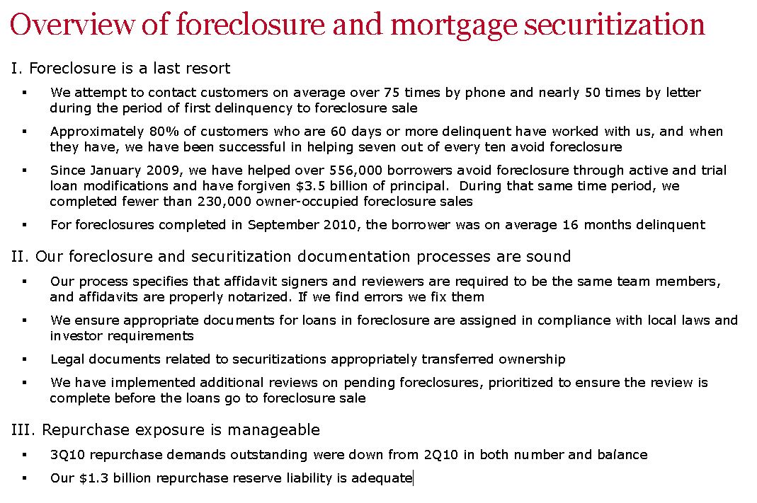 Wells Fargo on Foreclosures and Securitization