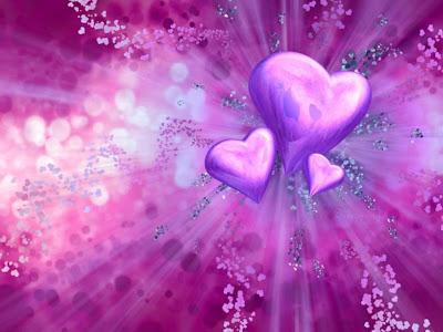 Ljubičasta srca, čestitka za Valentinovo