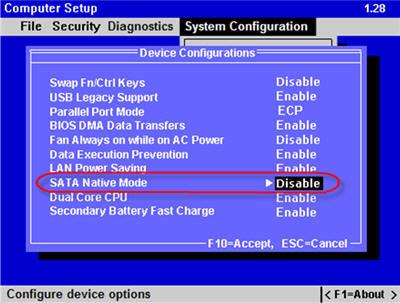 install Windows-XP-SP2 laptop-HP-Compaq-6820S SATA-native-mode