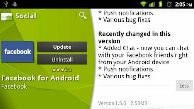 Download Facebook za Android v1.5 update