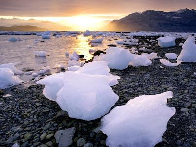 Komadi leda i zalazak sunca, Aljaska, SAD download besplatne pozadine slike za desktop kompjutera