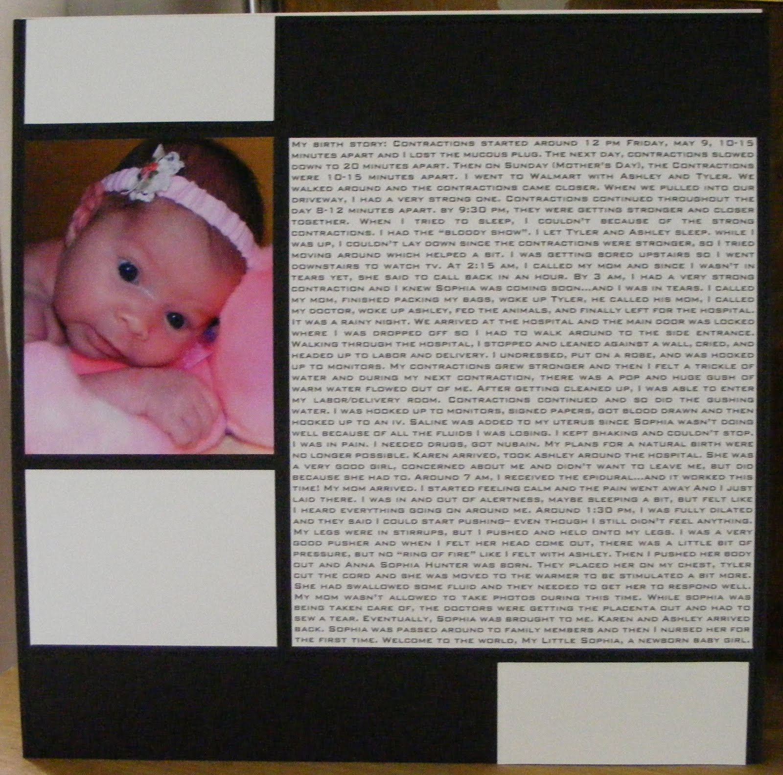 Pregnancy scrapbook ideas journaling -  Birth Story 12x12 Page Layout