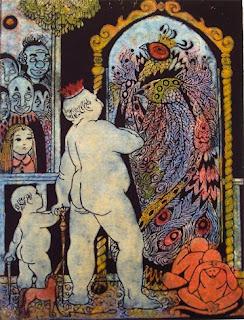 caricatura del emperador desnudo viéndose vestido en el espejo, los subditos sduladores y el niño veraz