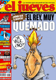 Caricatura del Rey quemado en eljueves.es