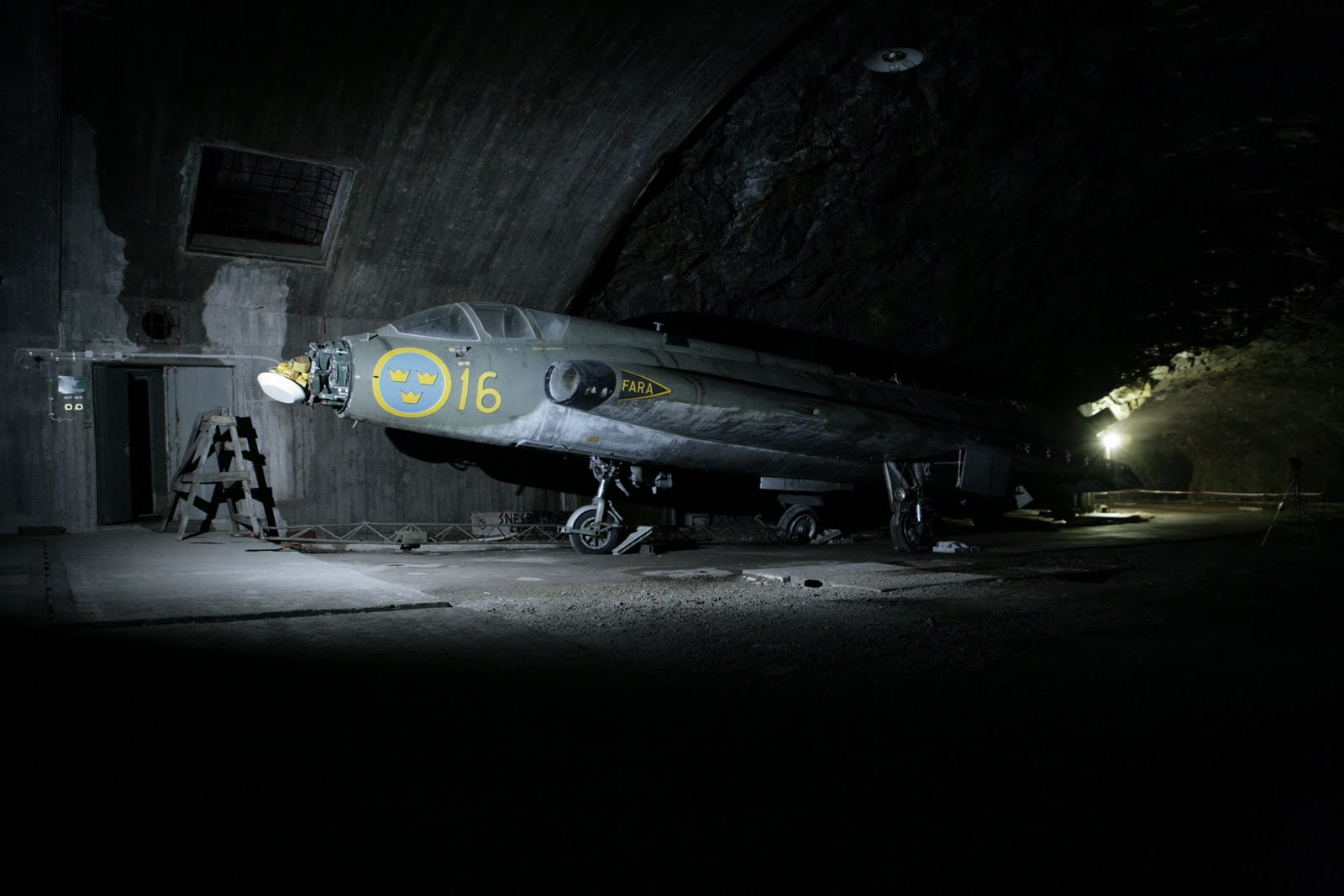 Abandoned J35B fighter jet in underground hangar in Sweden ... Futuristic Fighter Jets