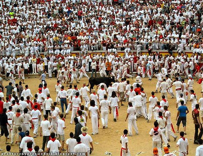 Sanfermines w Pampelunie gonitwa za bykami w Hiszpanii
