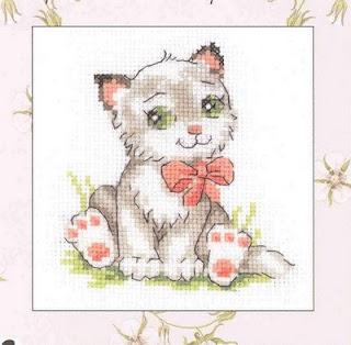 схема вышивки крестом котенка