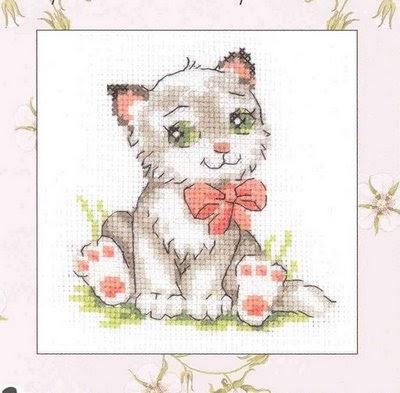 Вышивки крестом котенок