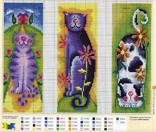 схема вышивки крестом цветных котов