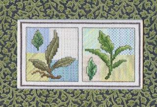 схема вышивки крестом зеленые листочки