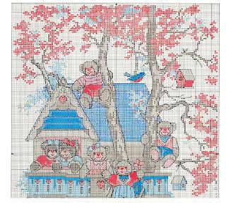 схема вышивки крестом мишки на дереве