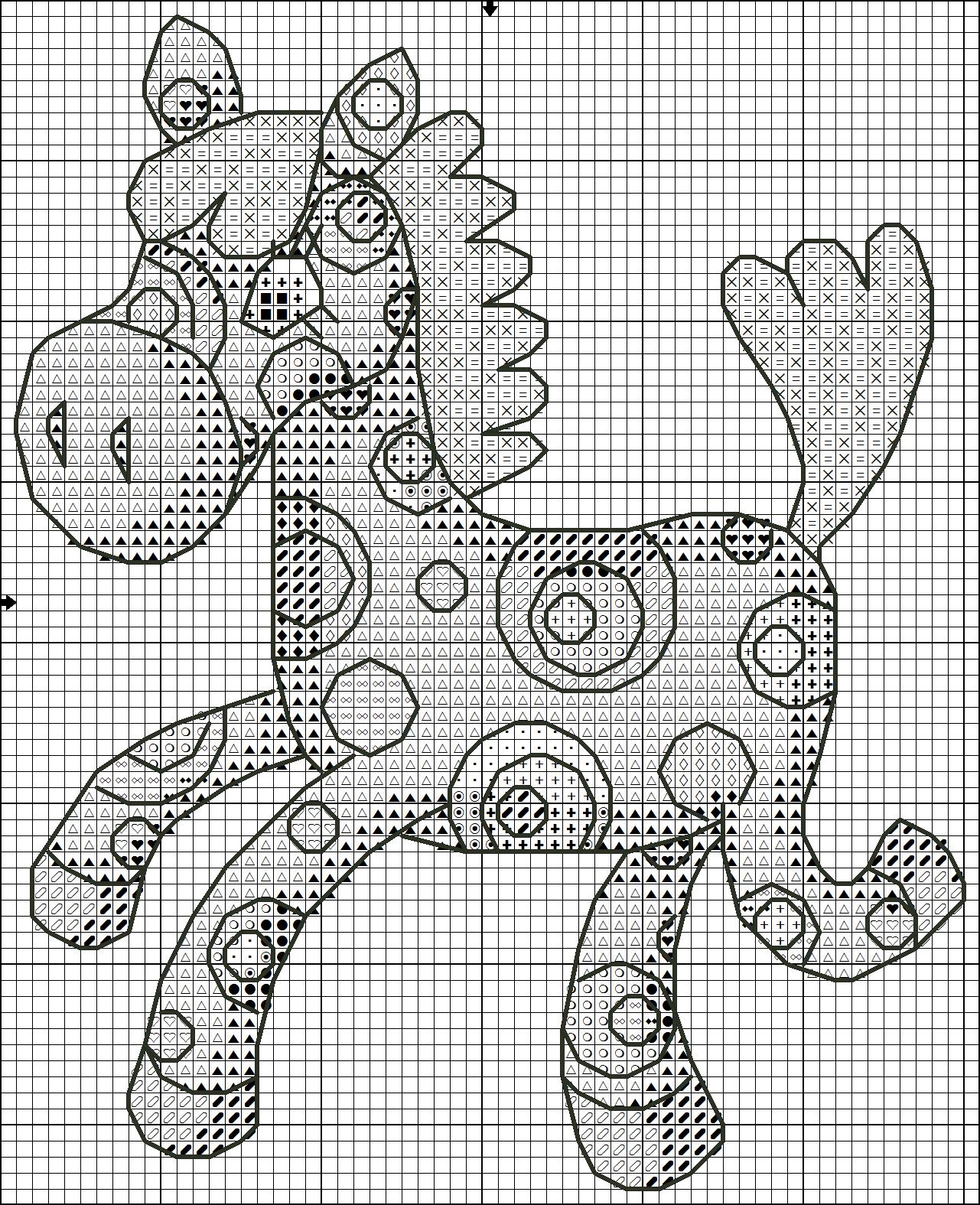 схема вышивки крестиком лисички