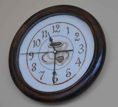 схема вышивки крестом часов с чашкой кофе
