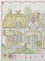схема вышивки крестом домиков