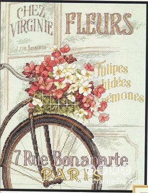 схемы вышивки крестом велосипеда с цветами