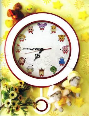 схема вышивки крестом детских настенных часов