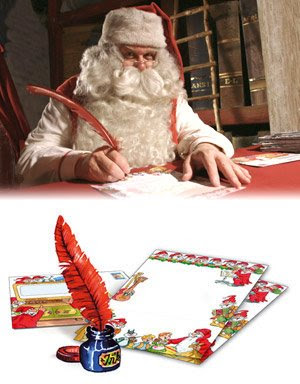 Santa Claus writing a letter hot image
