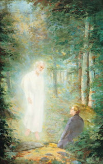 Joseph Smith taking Mormon golden plates from the moroni in garden or forest hq(hd) wallpaper