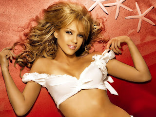 Very pretty Jessica Alba layed(sleeping on bed with white top and golden color stylish fashion hair style hot image