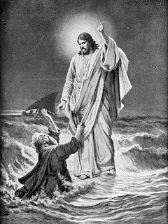 Peter praying god Jesus Christ while he walking on sea water in the storm with Jesus Christ black and white drawing art image photo