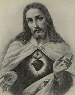 Jesus Christ and Sacred Heart black and white picture