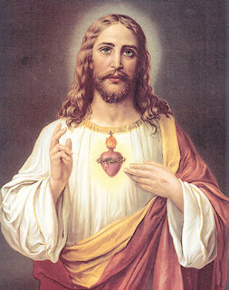 Red Sacred Heart in the Jesus Christ heart below to neck photo