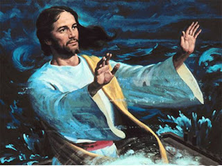 Jesus stopping the sea storm by raising hands photo