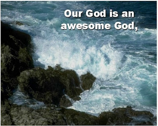 Our god is an awesome god nature pic with sea background at rocks image