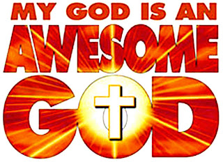 My God is an Awesome God spiritual quote about Jesus Christ hd(hq) wallpaper with cross in middle