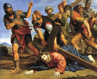 Jesus Christ fell while carrying cross warriors beating Jesus Christ color drawing art image
