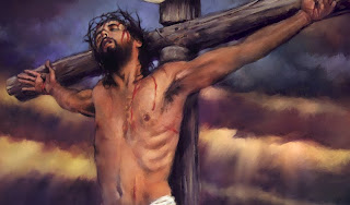 Jesus Crucifixion picture with wooden cross and blood