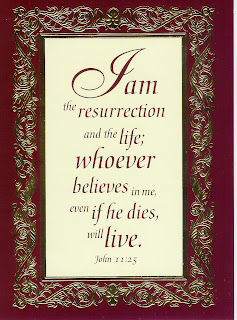 I am the resurrection and the life; whoever believes in me, even if he dies, will live Famous bible verse John 11:25 on Greeting ecard color Christian ecard photo
