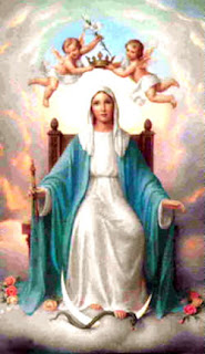 Mother Mary(virgin Mary) sitting in throne in sky and angels placing crown on her head Christian photo