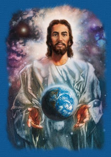 Jesus the savior holding the earth(globe) color drawing art picture free religious Christian picture