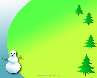 Christian Christmas powerpoint green color background and Christmas trees and snowman religious photo free download
