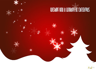Red color Christmas Power Point Background with Nice design and snow Christmas tree and stars - background picture