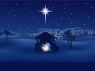 Beautiful white Christmas Star glowing above the Manger on Jesus born day - Christmas Christian power point background religious Nature hd(hq) wallpaper