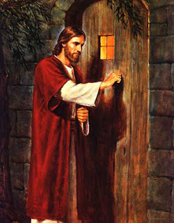 Savior Jesus at the door of wooden and knocking on it Christian drawing art religious image