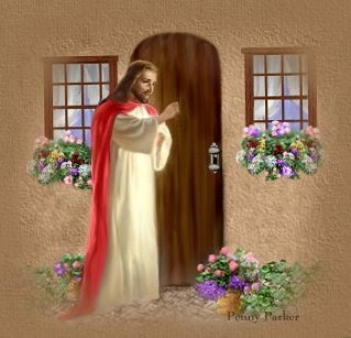 picture of Jesus knocking on door and beautiful bouquet flowers free Christian religious downloads