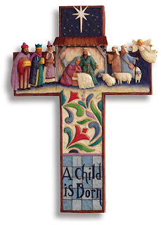 Beautiful nativity scene on Cross picture.  people and mother happily watching the Child Jesus clipart craft on the Christmas day