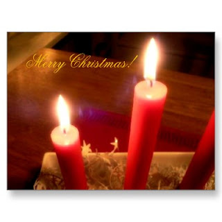 Merry Christmas greeting card picture with glowing red candles picture free Christian Christmas download