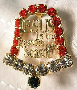 Beautiful decorated golden Christmas bell with the words Jesus is the reason for the season - Christian decorations photo download Christmas Christian pictures and coloring pages for free