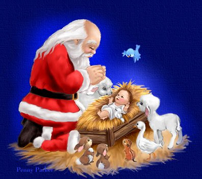 Jesus in the manger and birds, small sheep, rabbits and animals around him on his birth. Santa Praying Child Jesus on Christmas day by bowing(kneeling) at him download Christian Christmas background pictures for free